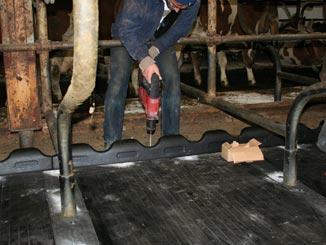 ergoBOARD Bugschwellen werden vor den WINGFLEX Matten am Boden der Liegeboxen angeschraubt
