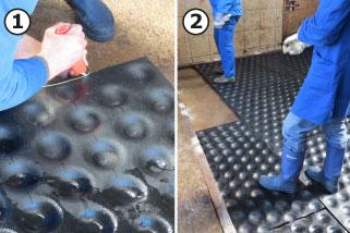 die Fläche der Abkalbebox wird mit den schalenförmigen Untermatten belegt