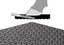 Produktbild pediKURA und schematische Darstellung von Klauenabrieb