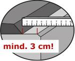 von der hinteren Betonkante mind. 3 cm Abstand einhalten