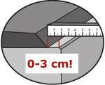 KRAIBURG WINGFLEX kann bündig mit der hinteren Betonkante verlegt werden, 0-3 cm Abstand von der hinteren Betonkante einhalten