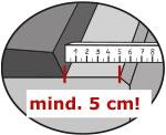 bei der Montage von KRAIBURG WELA LongLine von der hinteren Betonkante mind. 5 cm Abstand einhalten