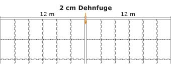 Bei der Montage von KRAIBURG Laufgangbelägen auf besonders großen Flächen alle 12 m 2 cm Dehnfuge einfügen