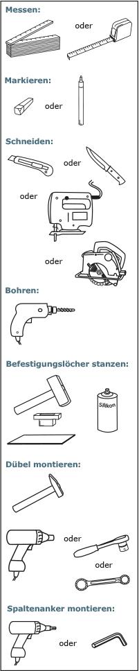 Werkzeuge zur Montage von KRAIBURG Stallbodenbelägen aus Gummi