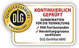 """DLG Prüfsiegel """"kontinuierlich geprüft"""": PAK-Test bestanden, Herstellungsprozess zertifiziert - KRAIBURG Gummimatten für die Tierhaltung"""