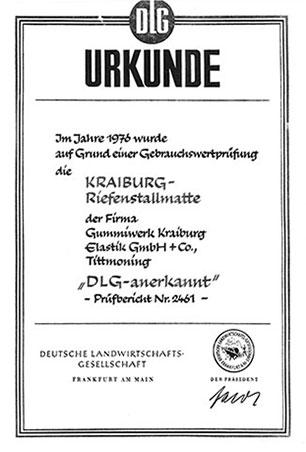 Urkunde KRAIBURG Riefenstallmatte DLG-anerkannt 1976