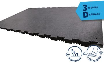 KRAIBURG profiKURA 3D:  walking alley rubber mat with integrated slope - for dry walking alleys and dry claws